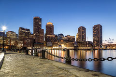 Blue view of Boston. A night scene of Boston City Stock Photography