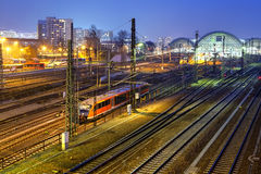 The blue view of central train station in Dresden at night Stock Photography