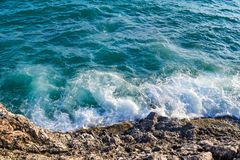 Free Blue View Of The Sea With A White Wave, Spray On The Beach Rock. Wave Hits The Coast Royalty Free Stock Image - 101955646
