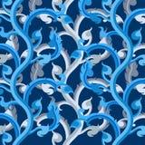 Blue vine art pattern Stock Photos