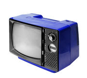 Blue vintage analog television isolated with clipping path. Stock Photos