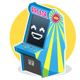 Blue Vintage Arcade Machine Game. Smiling Face Blue Vintage Arcade Machine Game Illustration, Waiting some Coin to Play It Stock Photography