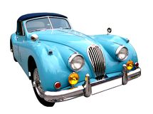 Blue vintage auto#2. Blue vintage car isolated, contains clipping path Stock Photo
