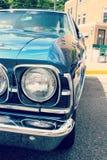 Blue vintage automobile close-up  Stock Image