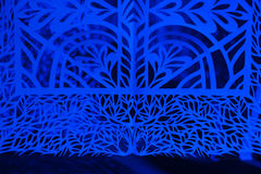 Blue vintage background paper in dark room Royalty Free Stock Photo