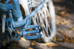 Blue vintage bicycle standing Royalty Free Stock Images