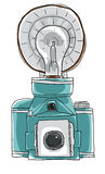 Blue vintage camera paintage line art Royalty Free Stock Photography