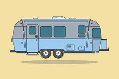 Blue Vintage Camping Car. Caravan For Rest. Royalty Free Stock Photo