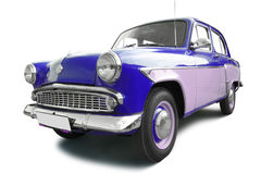 Blue vintage car. Vintage car isolated on white Stock Photo