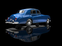 Blue Vintage Car On Black Background Royalty Free Stock Image