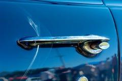 Blue vintage car details - handle Stock Image