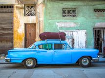 Blue vintage car in Havana. A blue car parked in front of an eroding house and no-parking sign in Havana vieja royalty free stock image