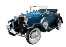 Blue vintage car. With the roof open stock images