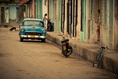 Blue vintage car on street in Havana Cuba Stock Photos