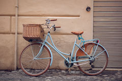 Blue vintage city bicycle with basket. royalty free stock images
