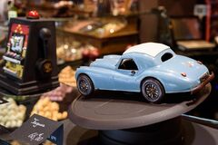 Blue Vintage Coupe Die Cast Car Scale Model Royalty Free Stock Image