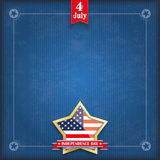 Blue Vintage Cover Golden Star Independence Day. Vintage cover with golden star, US-flag, ribbon and frame for the Independence Day Vector Illustration