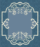 Blue vintage damask card Royalty Free Stock Photo