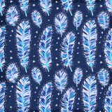 Blue vintage feather indian seamless pattern. Blue vintage bird feather indian seamless pattern Royalty Free Stock Photo