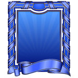 Blue vintage frame with ribbon Stock Image