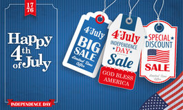 Blue Vintage Happy 4 July Frame 3 Price Stickers Royalty Free Stock Photography