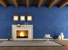 Blue vintage interior Stock Images