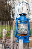 Blue vintage kerosene lamp Stock Photo