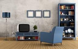 Blue vintage living room Stock Photos