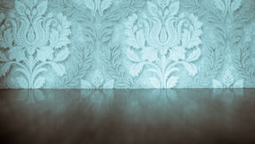 Blue vintage old wallpaper. Blue vintage old wallpaper with floor and blurred reflection royalty free stock photos