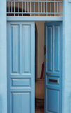 Blue vintage open door royalty free stock images
