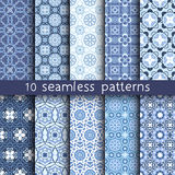 10 blue vintage patterns for universal background. Endless texture can be used for wallpaper, pattern fill, web page background. Vector illustration for web Stock Photo