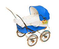 Blue vintage pram Royalty Free Stock Images