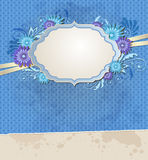 Blue vintage ragged paper and flowers Royalty Free Stock Photo