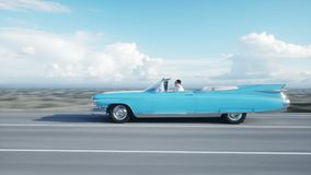 Blue vintage, retro car on road, highway. Daylight. Very fast driving. Realistic 4k animation.