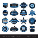 Blue Vintage retro labels black and white isolated Stock Images