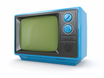 Blue vintage retro tv Royalty Free Stock Images
