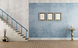 Blue vintage room with staircase Royalty Free Stock Image