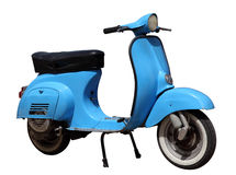 Blue vintage scooter. Isolated over white background Stock Image