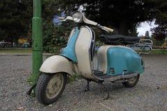 Blue Vintage scooter in Argentina. Blue Vintage scooter in El Bolson, Argentina Stock Photos