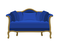 Blue vintage sofa. Antique couch. Royalty Free Stock Photography