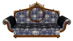 Blue vintage sofa - 3D render Royalty Free Stock Photos
