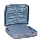 Blue vintage suitcase - opened, angle view Royalty Free Stock Photography