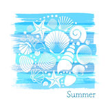 Blue vintage summer card Stock Images