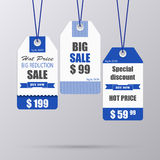 Blue vintage tag for sale template Stock Images