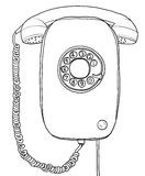 Blue vintage Telephone wall hand drawn line art painting illustr Stock Photo