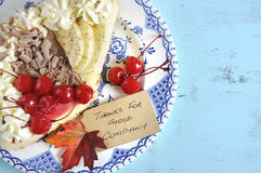 Blue vintage Thanksgiivng pie with copy space. Royalty Free Stock Photos