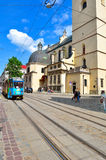 Blue vintage tram on the street in Lvov Royalty Free Stock Images