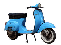 Blue vintage Vespa scooter. Isolated over white background Stock Image