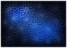 Blue Vintage Wallpaper with Flower Pattern Background. Thai Pattern, Illustration of Beautiful Blue Vintage Texture Wallpaper Background with Flower Pattern for Stock Photography