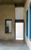 Blue vintage wooden window and blue wooden door Stock Images